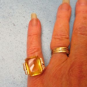 Vintage Jewelry - Sterling Vermeil Citrine Ruby Statement Ring~8.5